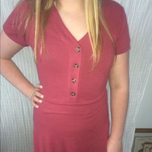 Pink/red button down dress